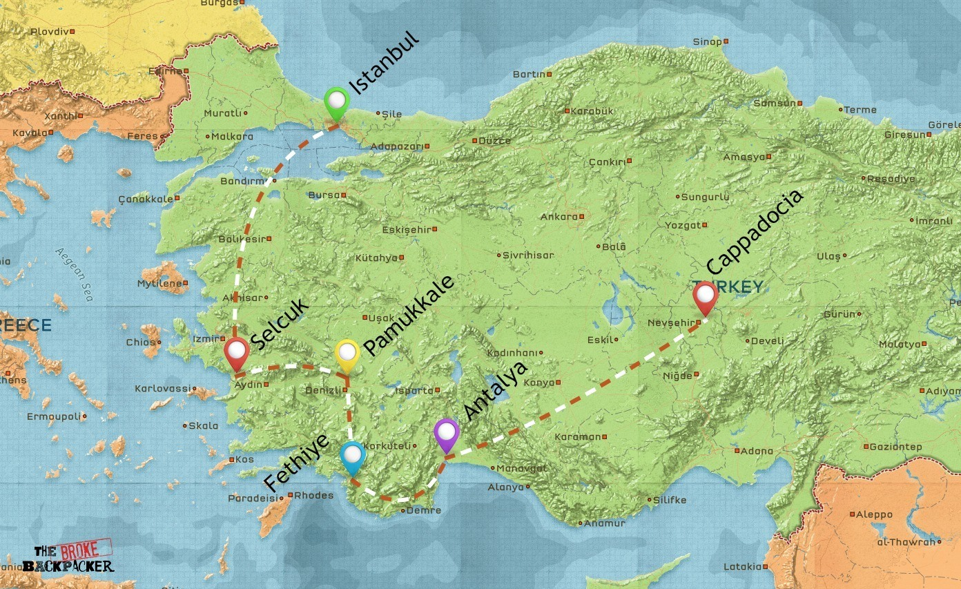 backpacking-turkey-itinerary-map-2-weeks