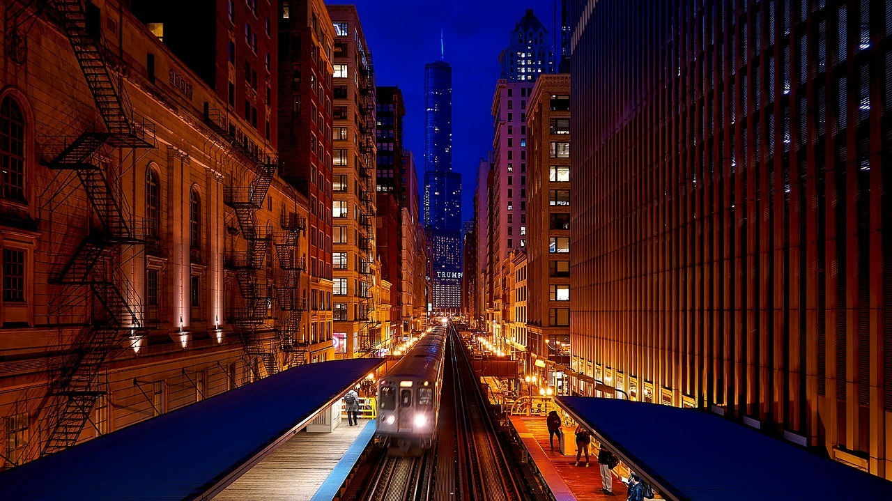 Chicago city at night with bustling nightlife