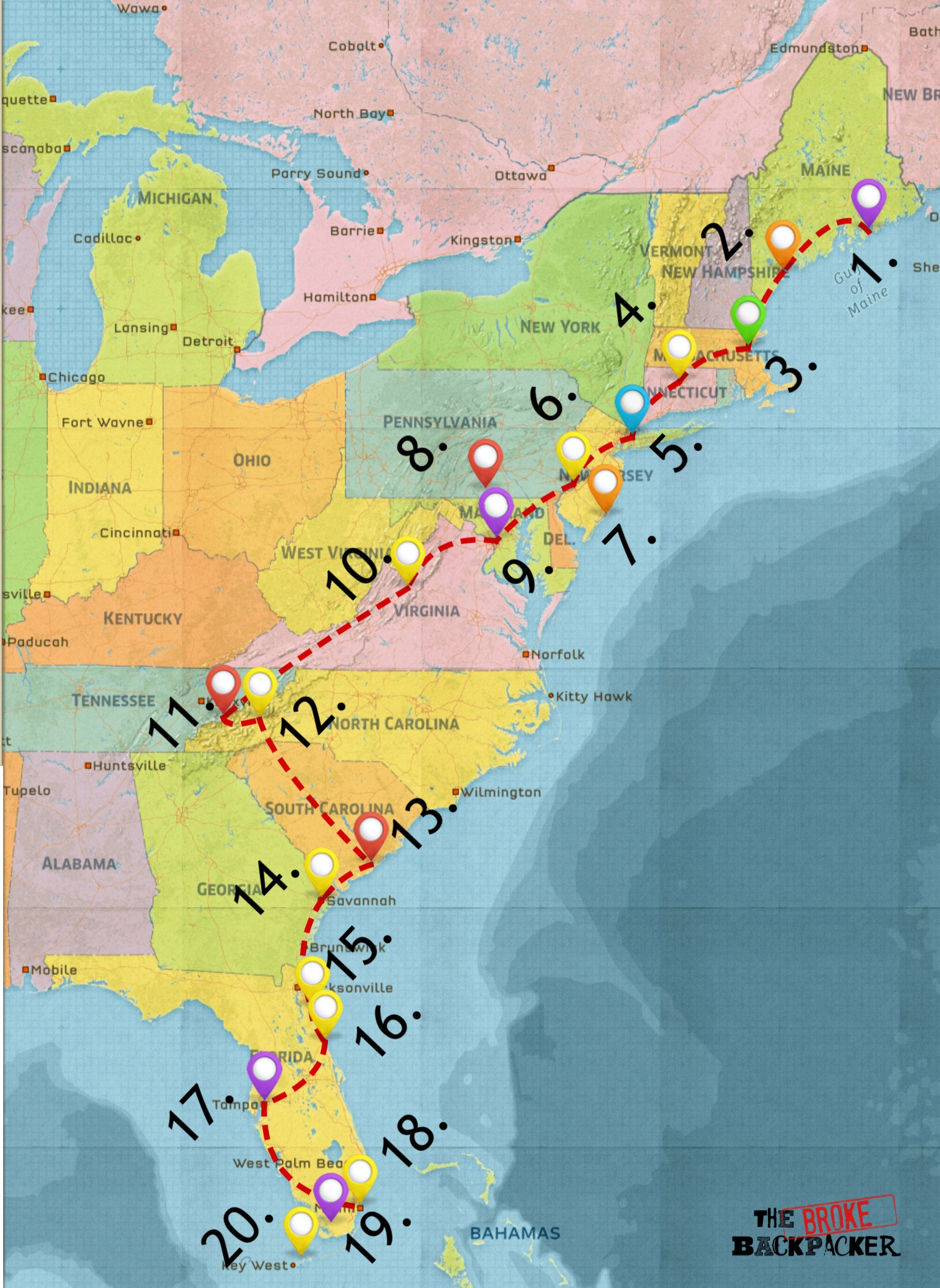 east coast road trip itinerary map