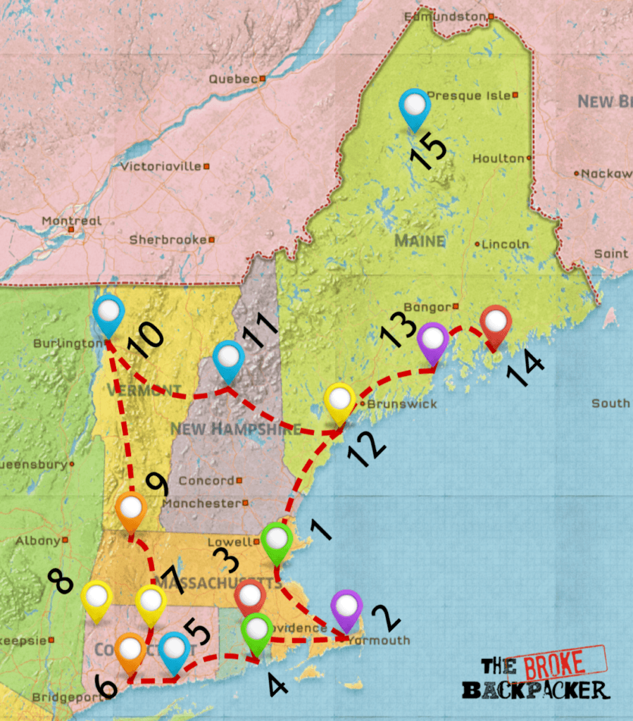 map of new england road trip 14 day itinerary