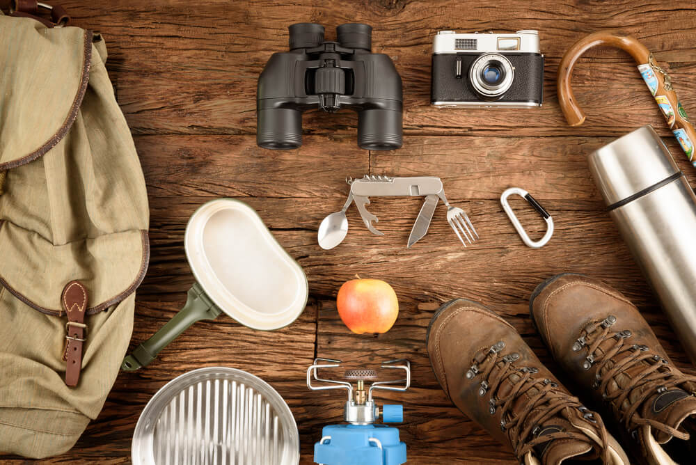 A wide selection of essential backpacking items